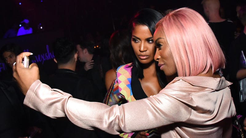 Shayla Mitchell and Jackie Aina attend a beauty event in West Hollywood, Calif., in August 2017