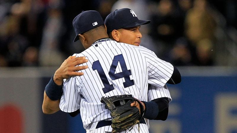 Illustration for article titled Teammates Feel Absolutely Nothing During Hug With Returning A-Rod
