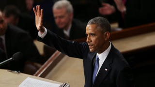 President Barack Obama waves at the conclusion of his State of the Union speech before members of Congress in the House chamber of the U.S. Capitol Jan. 20, 2015, in Washington, D.C.Alex Wong/Getty Images
