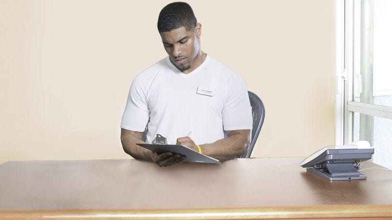 the inside of a small office room near the elliptical machines at fitworks gym sources confirmed monday that personal trainer marc robinson has a desk
