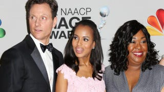 Scandal cast members Tony Goldwyn and Kerry Washington and writer-producer Shonda Rhimes pose in the press room during the 44th NAACP Image Awards at the Shrine Auditorium, Feb. 1, 2013, in Los Angeles. Frederick M. Brown/Getty Images for NAACP Image Awards