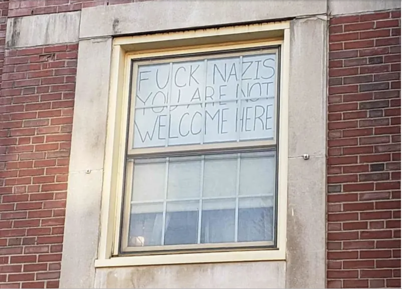 The sign Nicole Parsons hung in her dorm window.