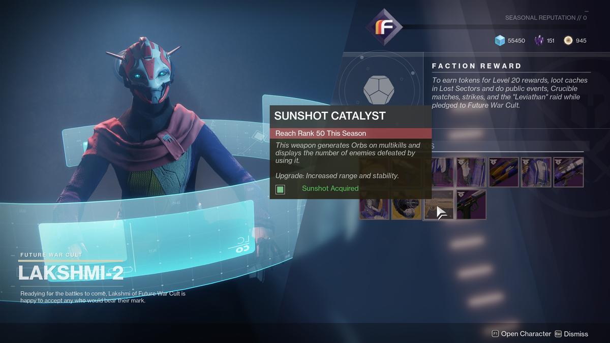 How To Get Sunshot Catalyst Destiny 2