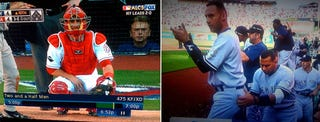 Illustration for article titled Yes, That Was Pat Sajak And A-Rod Groping Jeter's Buttocks