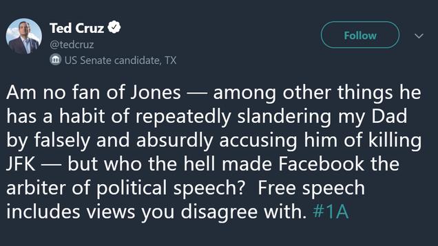 Ted Cruz Bravely Defends Alex Jones Against Facebook s Temporary Internet Jail