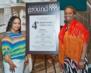 Wendi C. Thomas, left, is shown with local YWCA Executive Director Jackie Williams. While a columnist, Thomas founded Common Ground: Conversations on Race, Communities in Action, a six-week program of the YWCA of Greater Memphis.Common Ground Memphis
