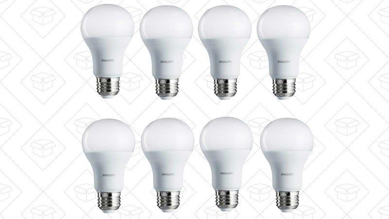 Pack de 8 focos Philips 100W equivalentes a LEDs (Blanco suave), $30Pack de 8 Philips 100W equivalentes a LEDs (Luz de dia), $30