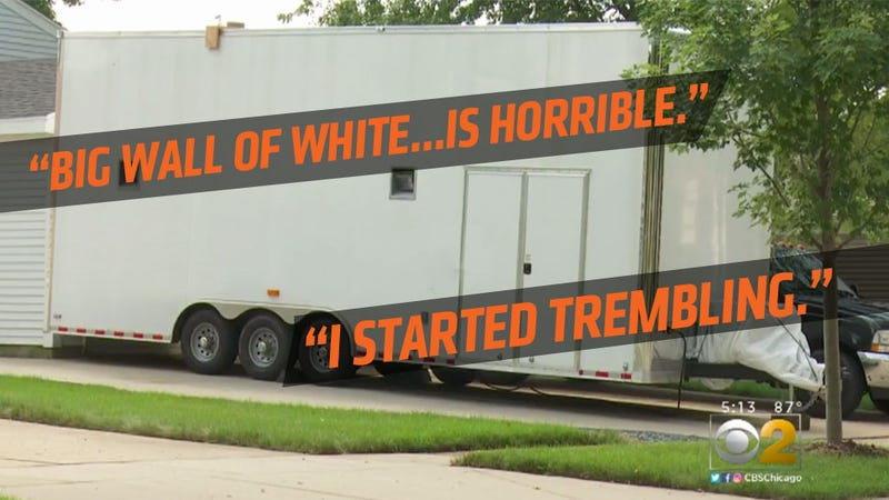 Illustration for article titled Giant White 25-Foot Trailer Parked In Driveway Tears Neighborhood Apart