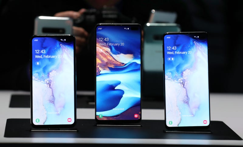 The Samsung Galaxy S10 Phones. Pictured, from left to right; the S10e, the S10+, and the S10.
