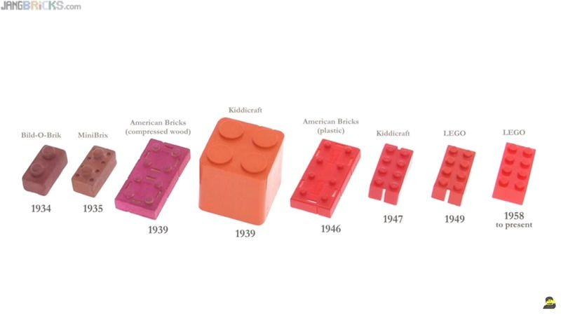 Illustration for article titled Lego was actually pretty late to the toy-brick-making game