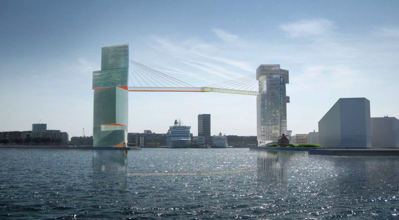 Illustration for article titled Behold the Dizzying Pedestrian Bridge Copenhagen Is Building Above Its Harbor