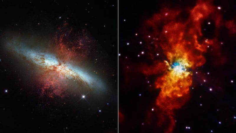 Illustration for article titled Two Different Satellites Take Two Different Pictures of the Same Galaxy