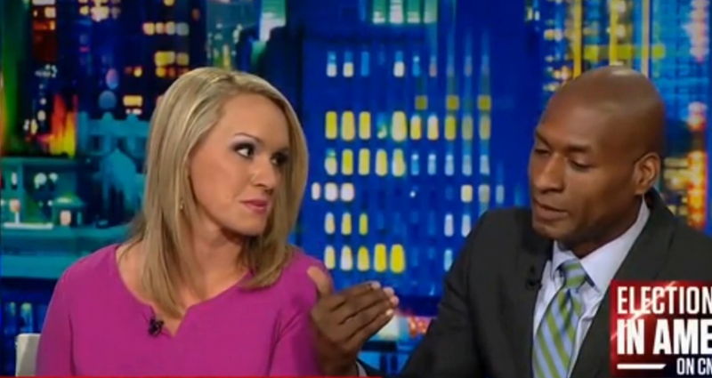 New York Times columnist Charles Blow discusses journalistic integrity during the 2016 presidential race on CNN as Scottie Nell Hughes looks on.CNN screenshot