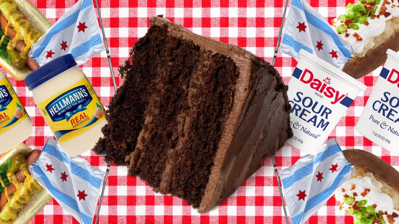 Illustration for article titled I made chocolate cakes with both mayo and sour cream and there's a clear winner
