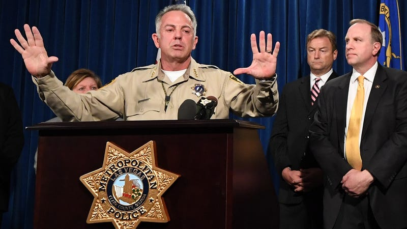 Clark County, Nev., Sheriff Joe Lombardo speaking at a press conference Oct. 4, 2017, about the mass shooting days earlier on the Las Vegas Strip.