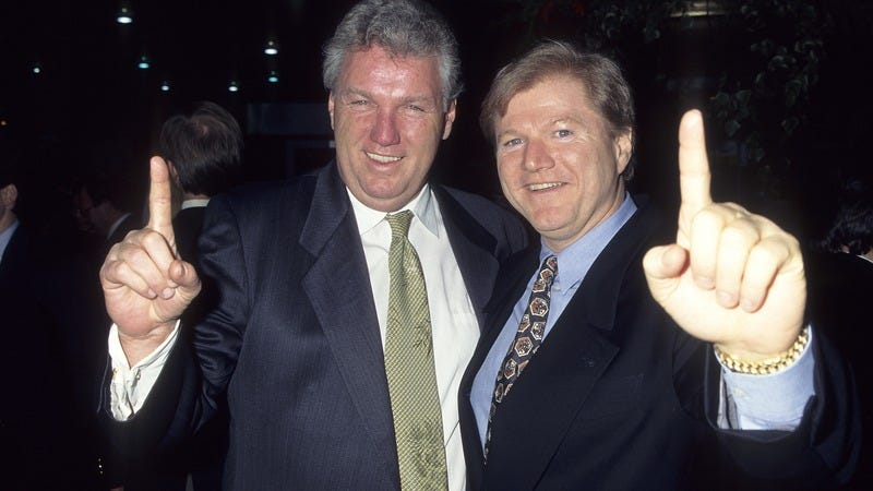 Michael King (right), with his older brother and business partner Roger, in 1995. Photo: Getty Images)
