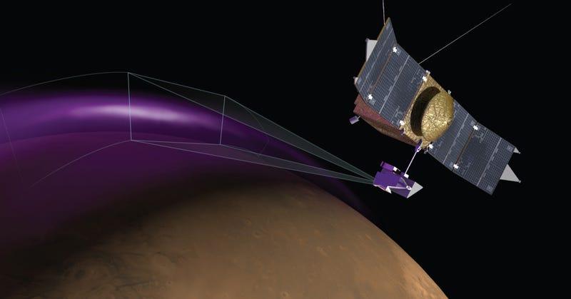 Illustration for article titled Descubren auroras ultravioleta y extrañas nubes de polvo en Marte