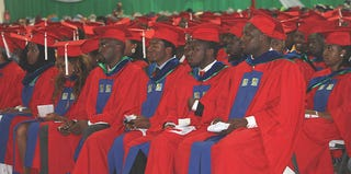 Graduates at the May 11 commencement ceremony at the American University of Nigeria (Facebook)