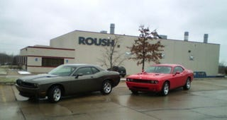 Illustration for article titled 2008 Dodge Challengers Hanging Out At Roush With All The Cool Kids