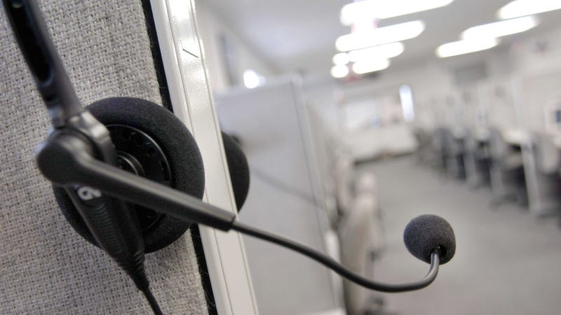 A headset hangs on a cubical wall after the last telemarketing shift at Spectrum Marketing Services, Inc. September 26, 2003 in Philadelphia, Pennsylvania.