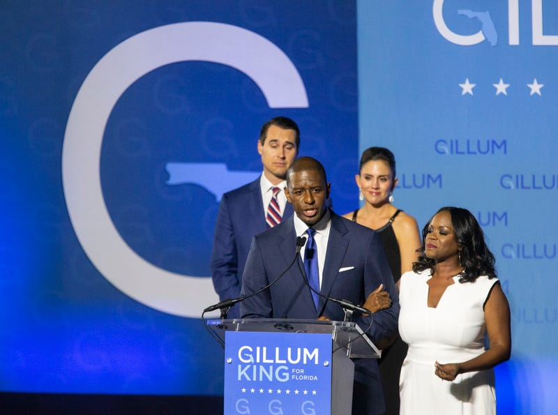 Democratic gubernatorial candidate Andrew Gillum gives his concession speech Nov. 6, 2018, in Tallahassee, Florida. Gillum fell short in his bid against Republican Ron DeSantis.