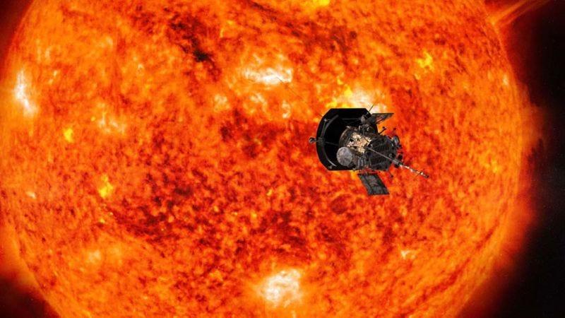 Representación artística de la Parker Solar Probe cerca del Sol