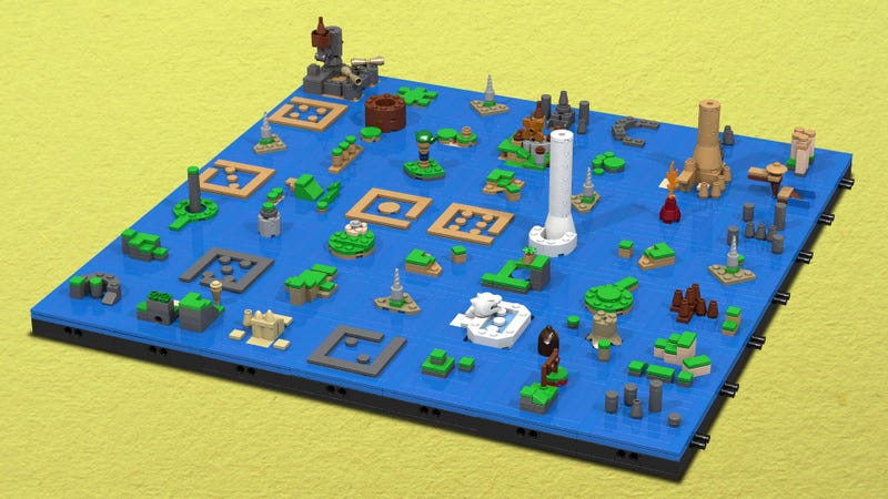 Illustration for article titled The Legend of Zelda: The Wind Waker's Sea Chart as a LEGO Microbuild