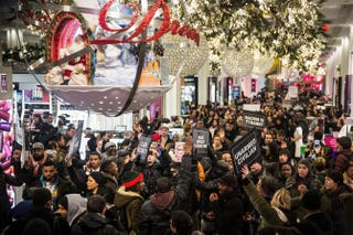 Demonstrators in New York City storm the Macy's department store at 34th Street on Dec. 5, 2014, to protest the decision by a grand jury in the New York City borough of Staten Island not to indict a police officer involved in the choke hold death of Eric Garner in July.Andrew Burton/Getty Images