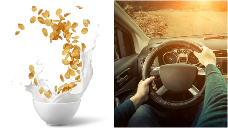 Illustration for article titled Total butthole drives car while eating a giant bowl of cereal