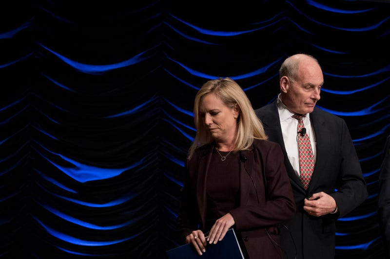 Department of Homeland Security Secretary Kirstjen Nielsen and White House Chief of Staff John Kelly exit the stage after speaking during an event to mark the 15th anniversary of the Department of Homeland Security, March 1, 2018 in Washington, DC.
