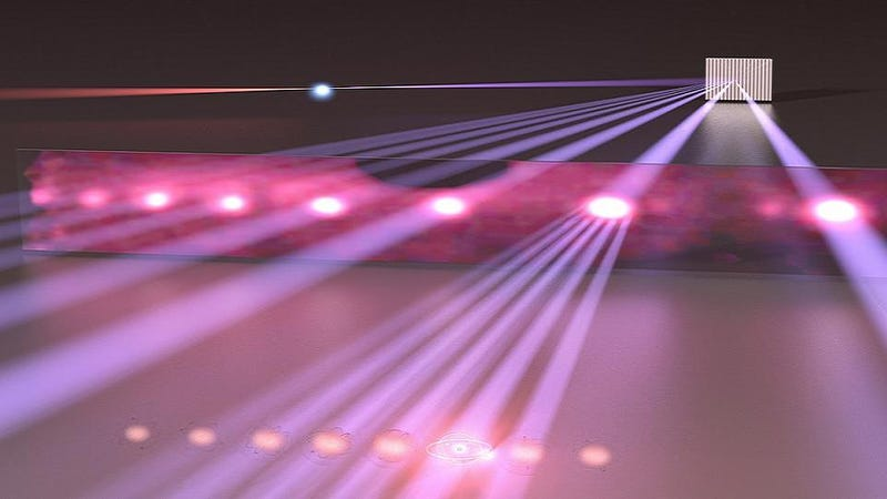 Illustration for article titled Scientists have used lasers to create an ultraviolet ruler for light