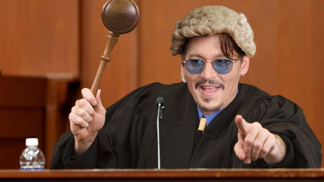 Johnny Depp Interrupts Libel Case To Duck Behind Witness Stand, Pop Up In Judge's Robes Banging Oversized Gavel