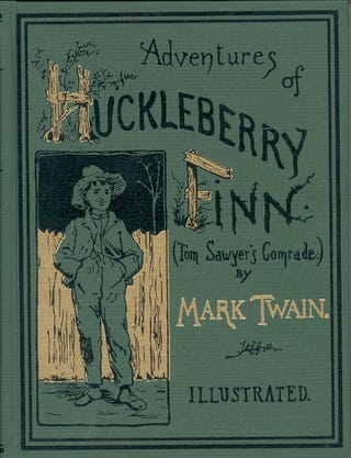 Cover of the first U.S. edition of Adventures of Huckleberry Finn, by Mark Twain; E.W. Kemble (1861–1933), illustratorWikimedia Commons