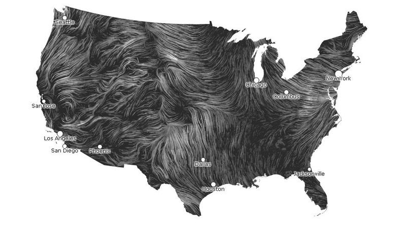 Illustration for article titled This Undulating US Wind Map Is Utterly Hypnotic