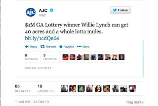 Illustration for article titled Atlanta Newspaper Tweets Some Dumb Shit About Lottery Winner