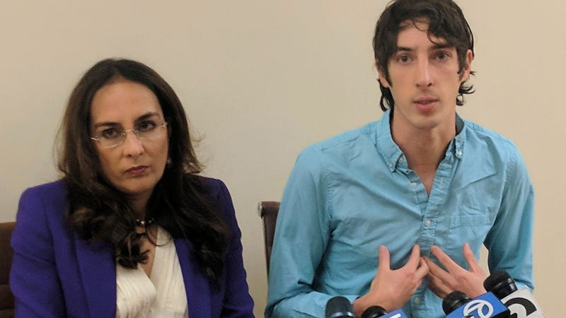 Fired Google engineer James Damore, right, and his lawyer Harmeet Dhillon, left, who is still working on the case.