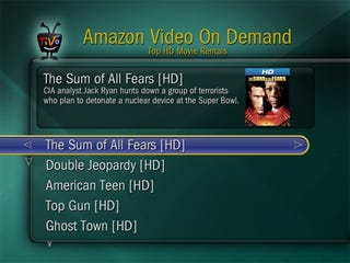 Illustration for article titled Amazon HD Video On Demand Offically on TiVo