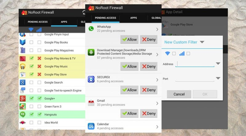 NoRoot Firewall Controls Internet Access for Apps