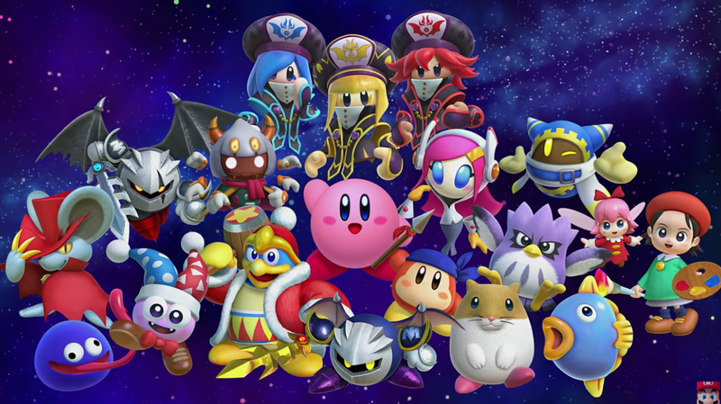 Most of the characters in this image were added to Kirby Star Allies as playable heroes for free after release