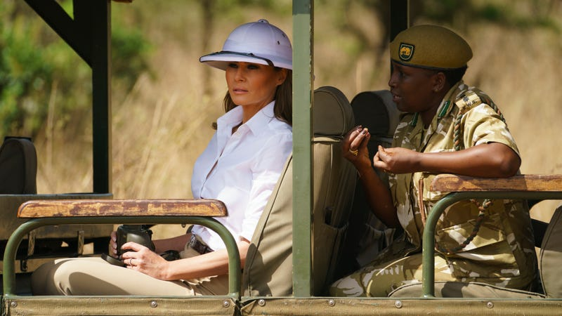 Illustration for article titled Melania Wore a Pith Helmet on Her African Adventure, a Very Interesting Choice