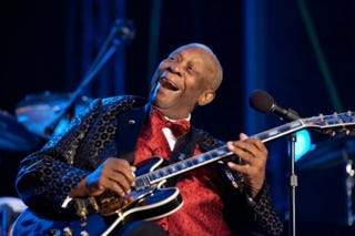 "B.B. King performs ""Merry Christmas Baby"" at the National Christmas Tree Lighting ceremony on the Ellipse in Washington in 2010. The White House paid tribute to King on its whitehouse.gov home page.Pete Souza/White House"