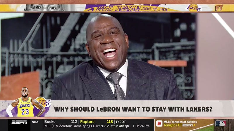 Illustration for article titled Magic Johnson Visits First Take, Talks A Whole Bunch Of Shit About Lakers GM Rob Pelinka