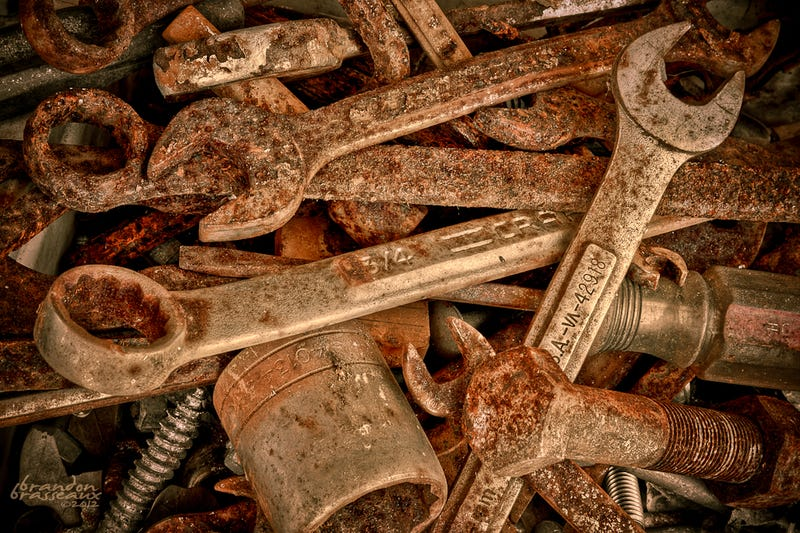 Not my actual wrenches, mine are just barely rusty. Picture shamelessly stolen from GIS.