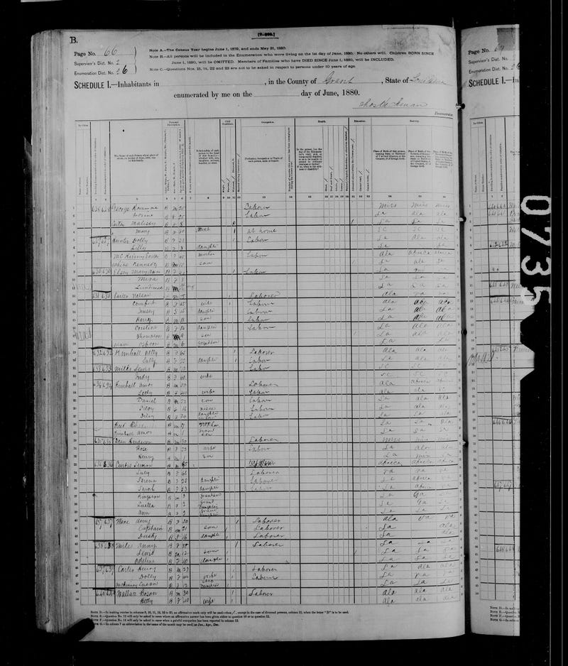 1880 census record of Simon Curtis U.S. Census