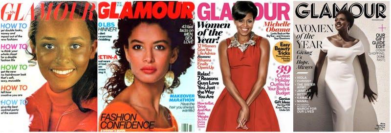 (l-r) Daphne Maxwell Reid (1969); Kara Young (1989); Michelle Obama (2009); Viola Davis (2018)