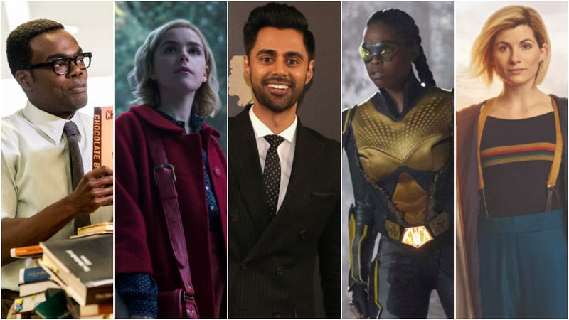 William Jackson Harper in The Good Place (left), Kiernan Shipka in The Chilling Adventures Of Sabrina, Hasan Minhaj, Nafessa Williams in Black Lightning, Jodie Whittaker in Doctor Who