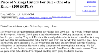Illustration for article titled Brett Favre's Purported Pubes Are For Sale On Craigslist For $200 (Or Best Offer)