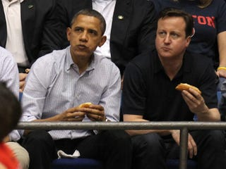 President Obama and British Prime Minister David Cameron at Tuesday's game(Gregory Shamus/Getty Images)