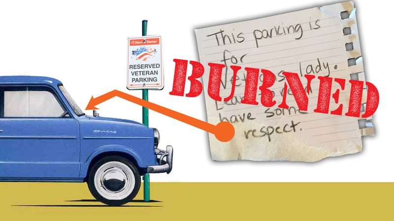 Illustration for article titled Woman Gets Angry Note For Parking In Veterans' Only Space—Even Though She's A Veteran