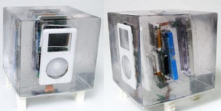 Illustration for article titled iPod is Blown Up, Encased in Resin, and Still Works